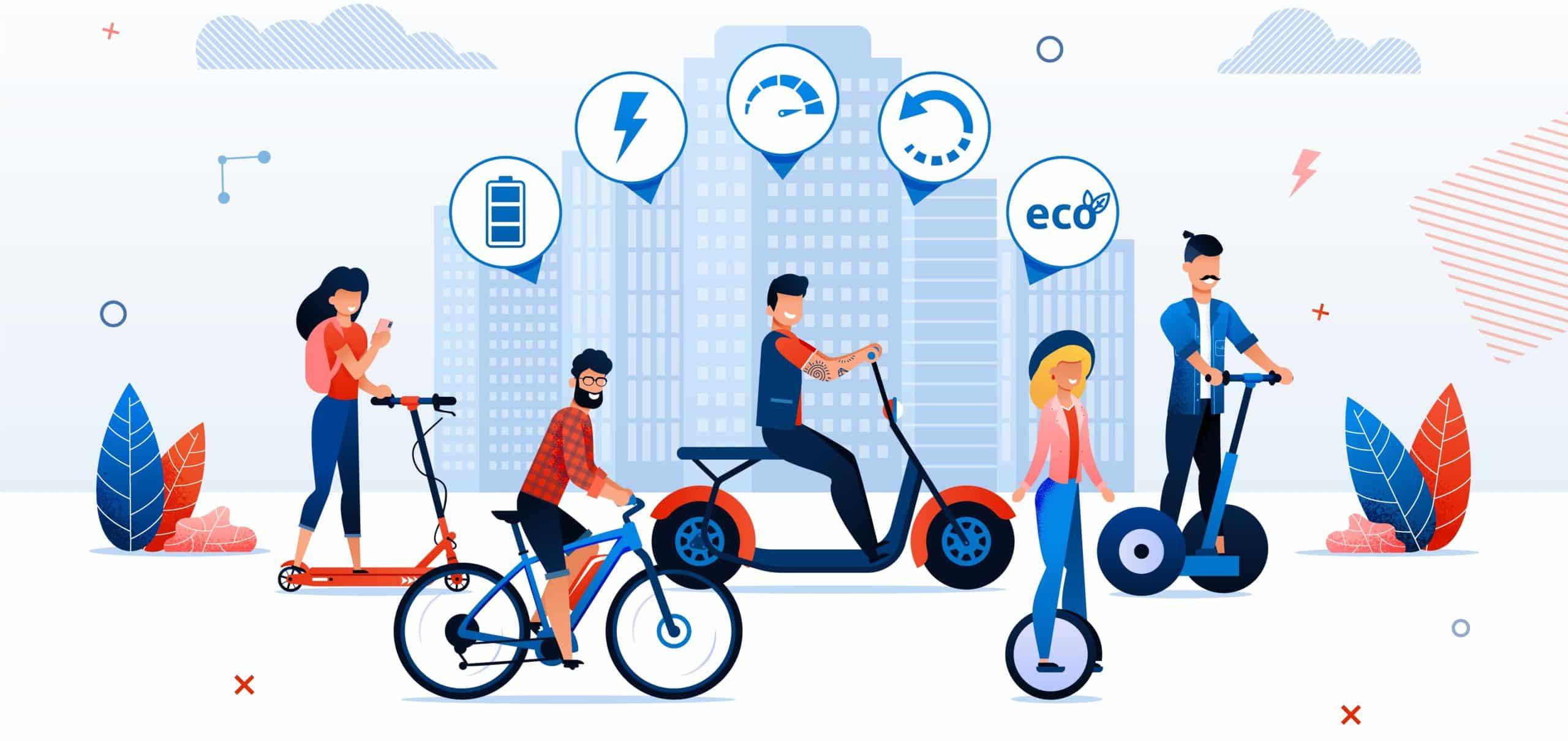 Man Woman Ride Electro Bike Bicycle Scooter Segway