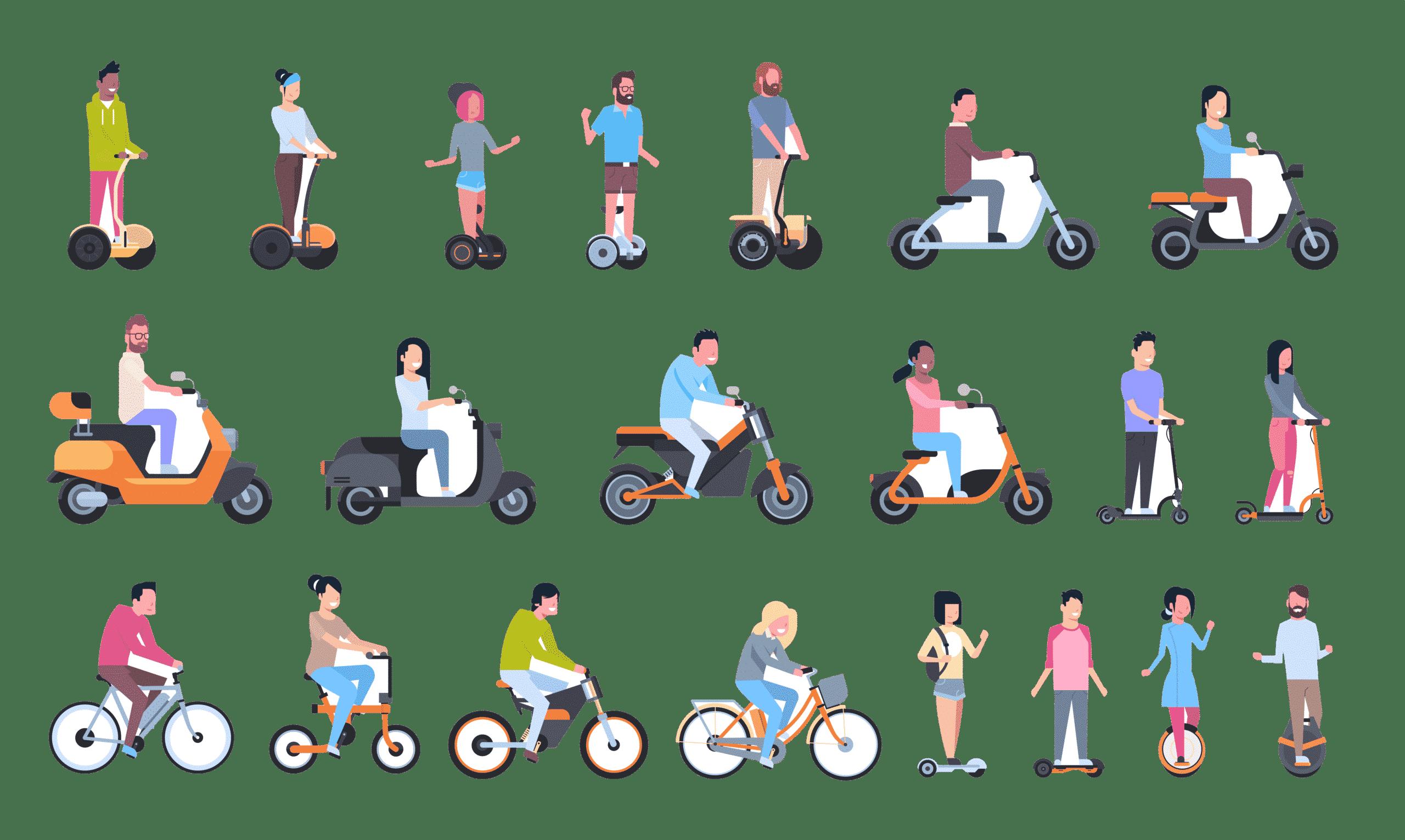 Hoverboard-et-gyropode-avec-trottinette-electrque-et-vélo-electrique-1